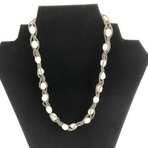 Necklace Faux Pearl And Braided Beaded Chain